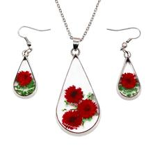 Creative Natural Dried Flower with Transparent resin Surface Women/Girl's Fashion red Necklace and Earrings Set
