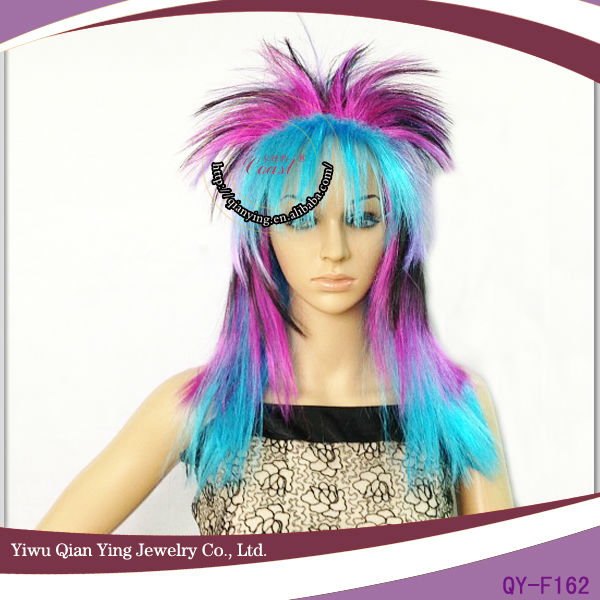 cheap colorful wholesale synthetic crazy rock punk party wigs