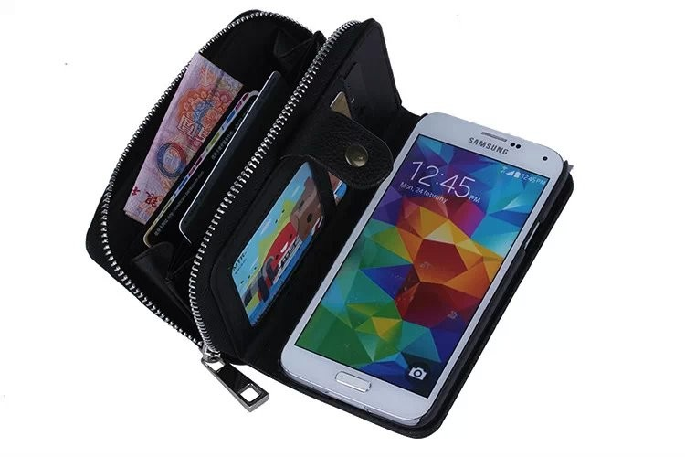 Multi-Function Detachable Zipper wallet leather case for Samsung Galaxy S5