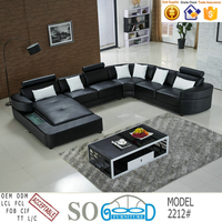 China Foshan Living Room Leather Sectional Sofa