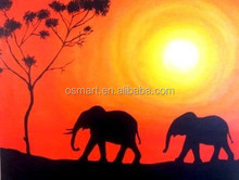 Evening two elephants in the desert the headquarters of the tree handmade classic decoration oil painting in canvas
