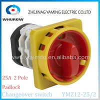 Factory Rotary switch 2 position OFF-ON YMZ12-25/2GS padlock universal manual electrical changeover cam switch 25A 2 pole