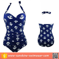 Special Offers Bargain Sale Blue Anchor Print One Piece Swimsuit