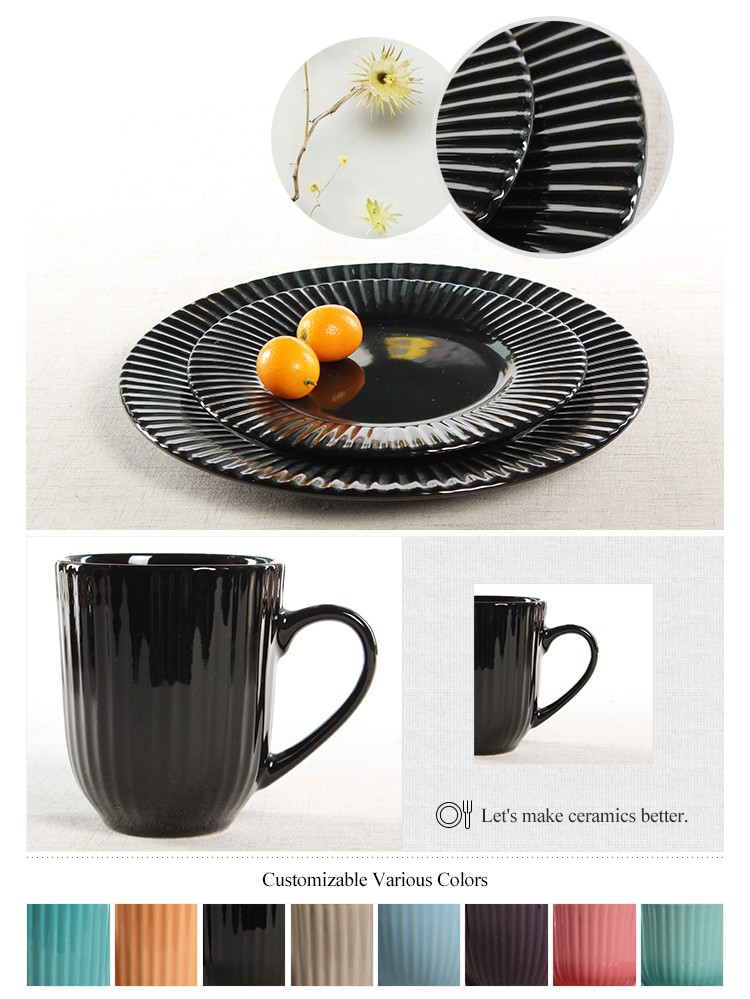 Embossed Fine Thread Design Italian Ceramic Dinnerware Set
