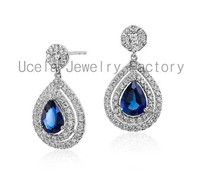 Summer Sterling Silver Dark Blue CZ Jewelry Wholesale fashionable design antique hanging earrings