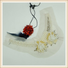 decorative white beaded collar neck design for clothes made in China