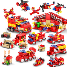 414pcs KAZI Fire Station Building Blocks Compatible legoed City Firefighter Early Educational Bricks Kids Toy brinquedos
