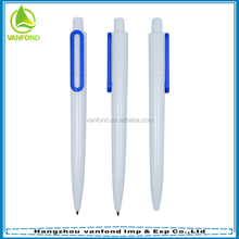 Retractable plastic material writing well school ballpoint pen for promotion