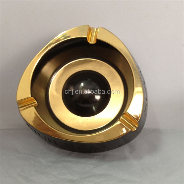 antique metal ashtray gold and black Double color plating ashtray , metal gold plated ashtray manufacturers