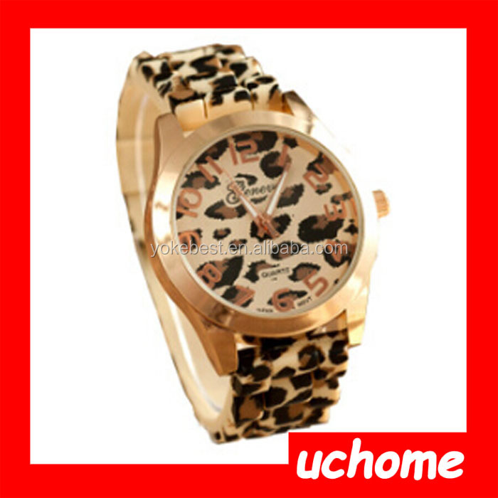 UCHOME Fashion Design Newest Gold Plated Wrist Watch Leopard Watch Geneva Gold Watch