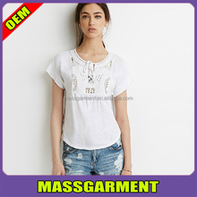 OEM beaded embroidery lace women t shirt design