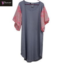 OEM 2017 Women Fashion Pink Ruffle Lace Sleeve Thin Stripes Patchwork Newest Design Leisure Casual Loose Dress