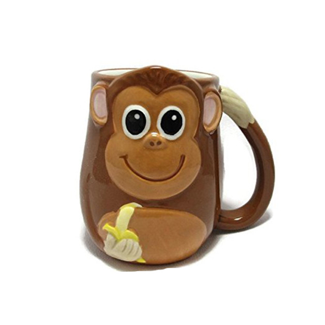 3-d Figural Monkey 16 Oz Hand Painted Coffee Tea Mug Cup