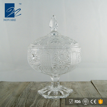 Transparent Lead-Free Crystal Glass Sugar Bowl With Stem