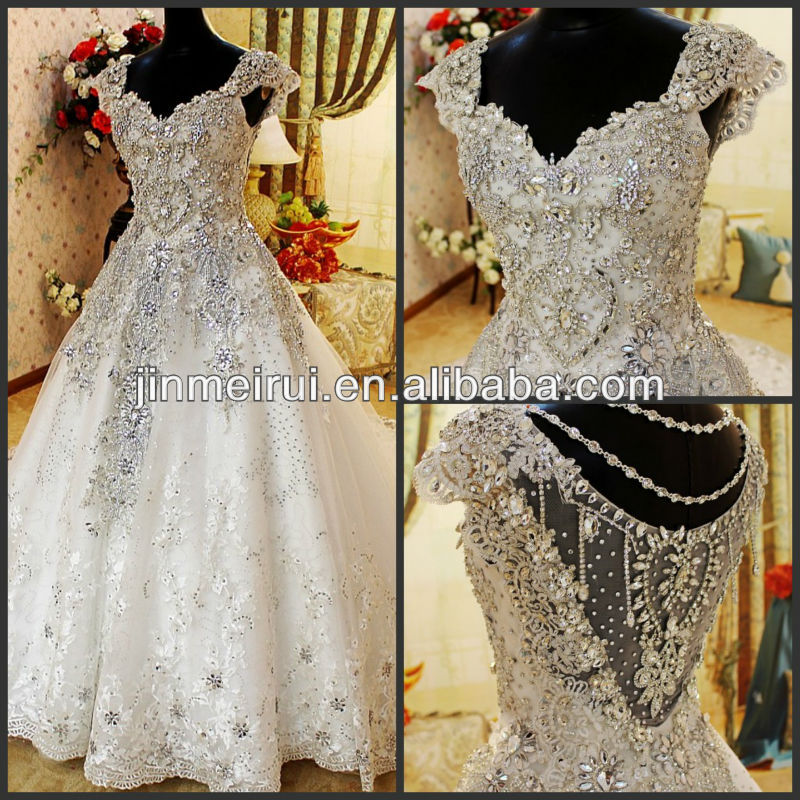 High Quality Diamonds Crystal Wedding Dress 2017 Cap Sleeve Cathedral Train Luxury Wedding Dresses Lace Bridal Gowns