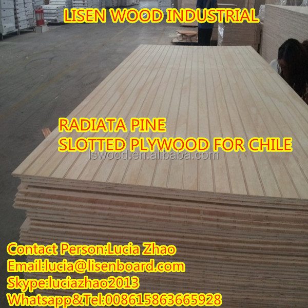 Pine Grooved plywood for furniture , Slatwall Board , slotted plywood
