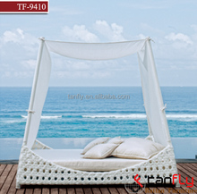 TF-9410 Outdoor Bali Style Sun Day Bed Cushion Lounger Sofa with Canopy and Pillows -white PE Wicker chaise