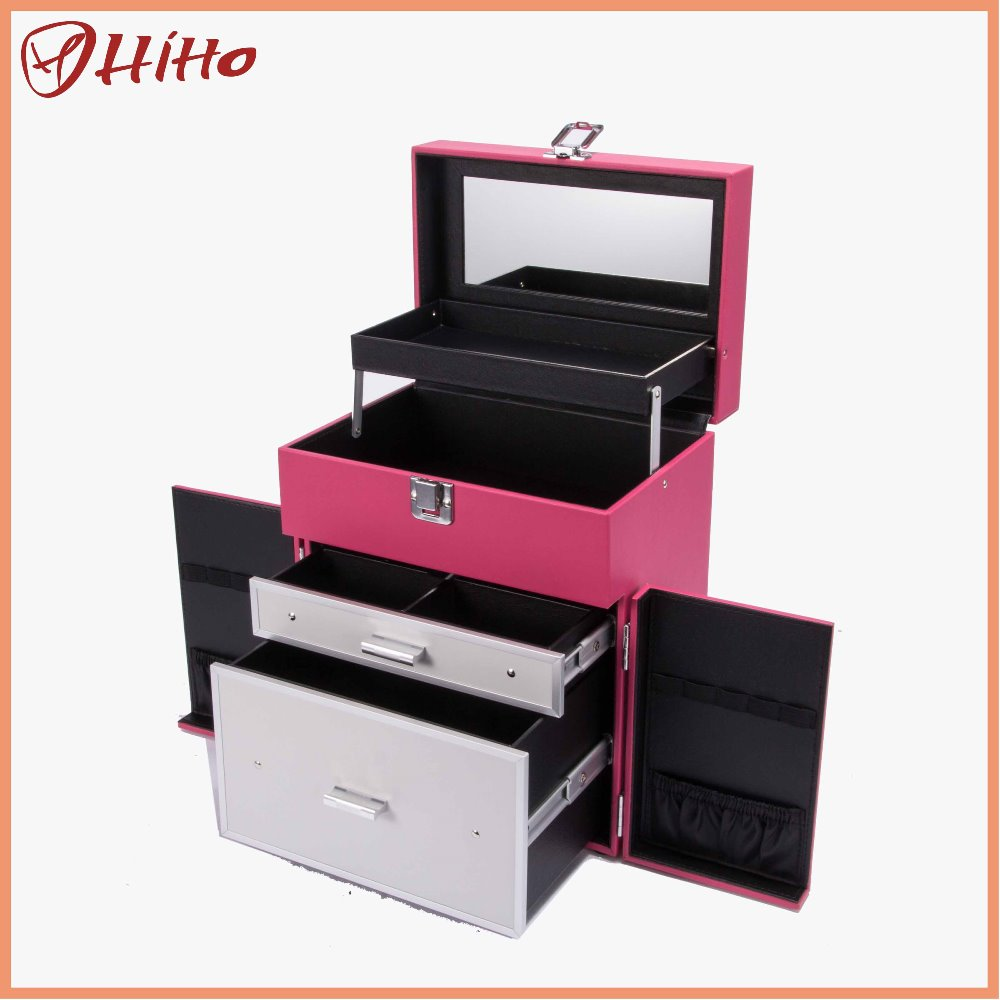 Hard PVC Professional Makeup Trolley Case