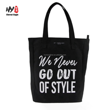 12oz black large capacity silk printing canvas tote bag