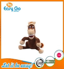 Funny Cute Stuffed Plush Sitting Smiling Horse Toy with Big Mouth Open on Sale