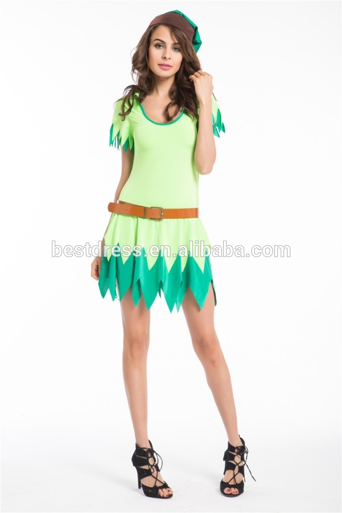 Green Witch Hunter Peter Pan Fancy Dress Fitness Halloween Cosplay Costume