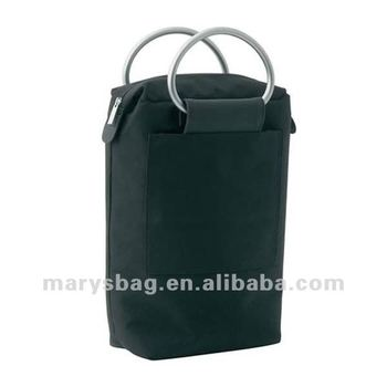 2 bottle cooler bag with silver aluminum handles