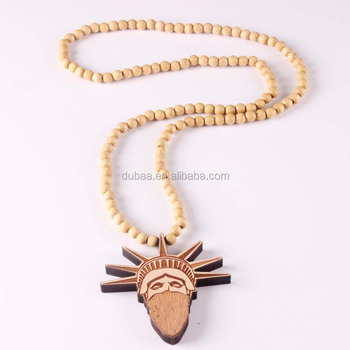 Statue of Liberty Wood Necklaces Pendant Beads Chain Necklaces Best Gift