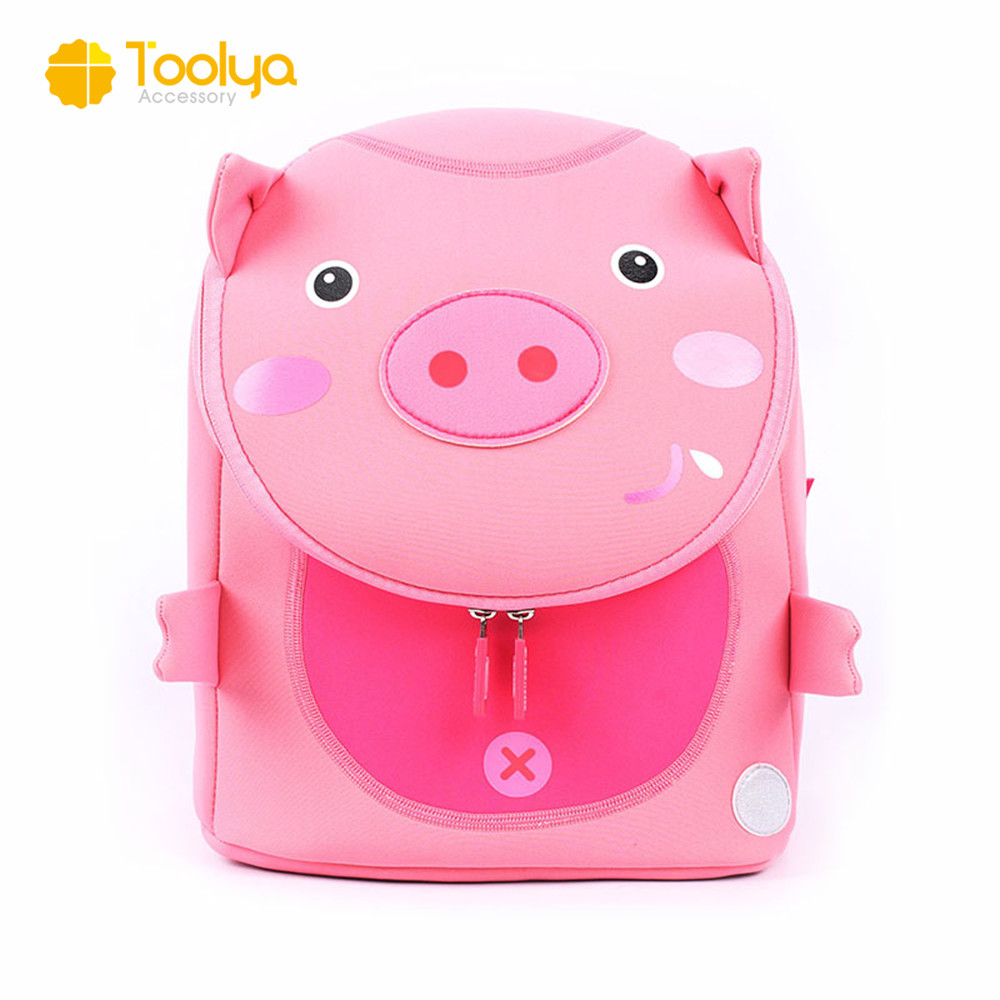 China factory wholesale cute pink pig style little neoprene kids backpack