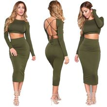 Fast Delivery Women Amy Green Backless 2 Pieces Lady Bodycon Bandage Dress