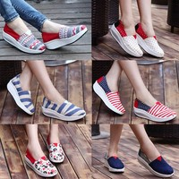 printed flat canvas shoe casual fashion shoes