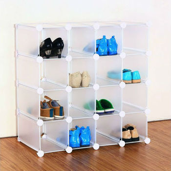 Interlocking 16 pairs plastic Cube shoe rack organizer (FH-AL16400)