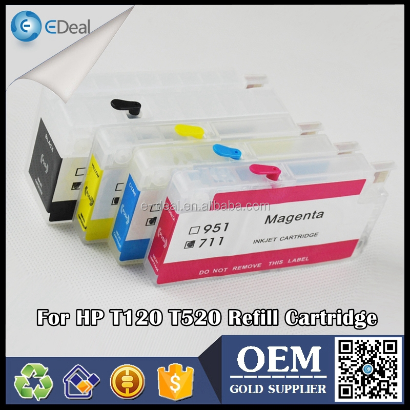 For HP 711 empty refill ink cartridge for HP officejet T520 T120 printer ink cartridge with auto reset chip