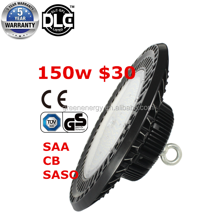 150W 200W 240W Dimmable UFO LED High Bay Light for Warehouse Industrial DLC ETL