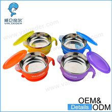 Four-color Stainless Steel Serving Soup Baby Bowl with Lid kids suction bowl