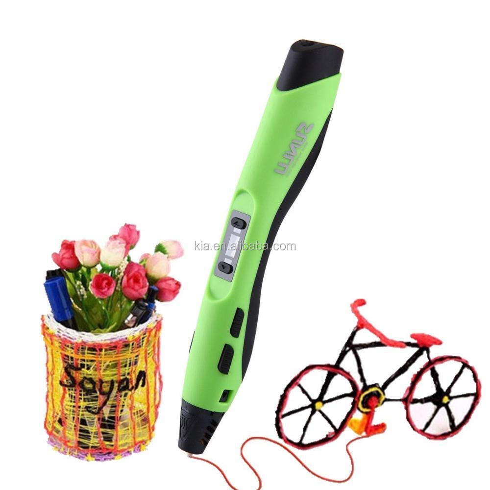 Low temperature 3d printer pen with LED screen
