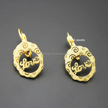 Elegant Bulk Sale Fashion Stainless Steel Round Love Shape Indian Design Gold Plated Stud Earrings