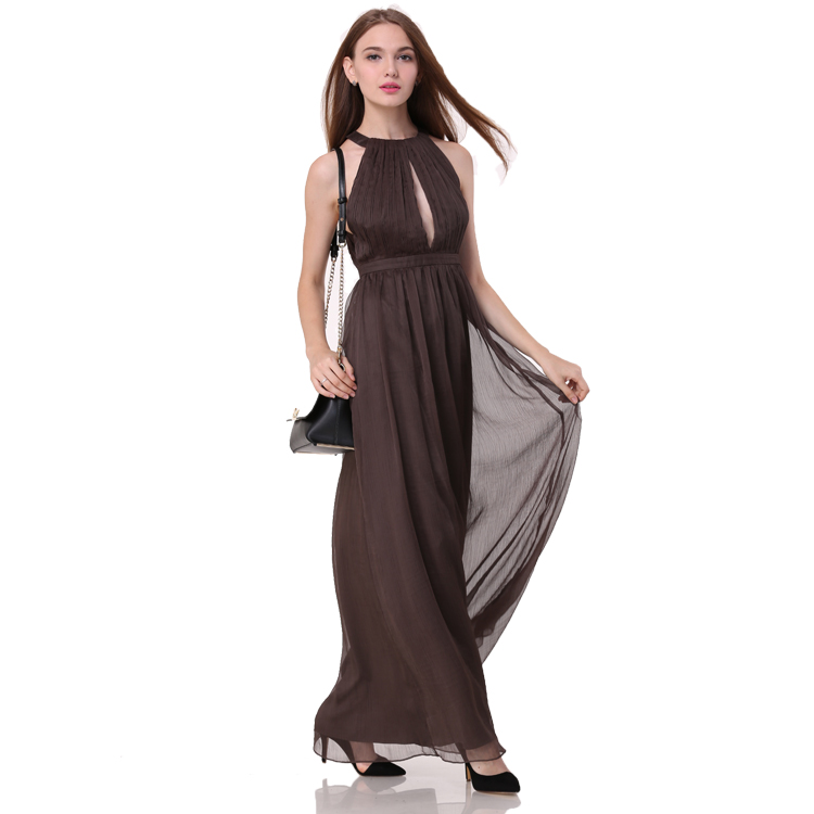 2017 New Arrival Sexy Women Dress Halter Plunge Neck Pleated Bodice Wholesale Maxi dress Long Evening dress