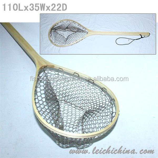 Wooden Frame With Extra Long Handle Rubber Fish Landing Net