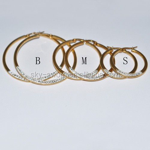 Womens Gold Stainless Steel Round Drop Earrings(BE20094)