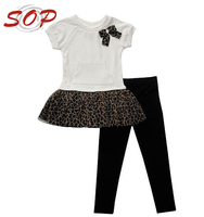 Private Label Baby Girls Cotton Black and White Cothes Short Slevees Outfit Set For Girls