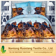 factory wholesale 100% polyester fashion building reactive printed polyester full size 3D bedding set