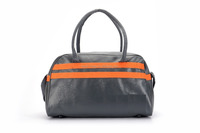 2016 high capacity fashionable leather travel bag with orange stripe