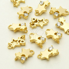 Tiny Stars CZ Pendant, Matte Gold Plated over Brass