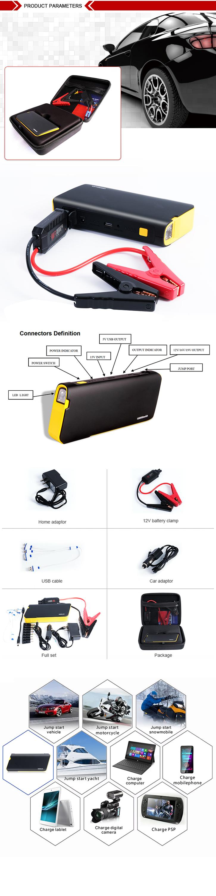 Portable emergency power source 137*77*19mm dimensions multi-functional jump starter