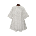 European fashion design white color round neck lace women casual dress