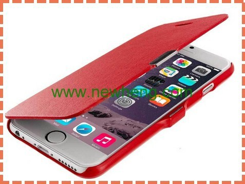 Wholesale Brush Texture Flip leather case with Magnet Button for iPhone6