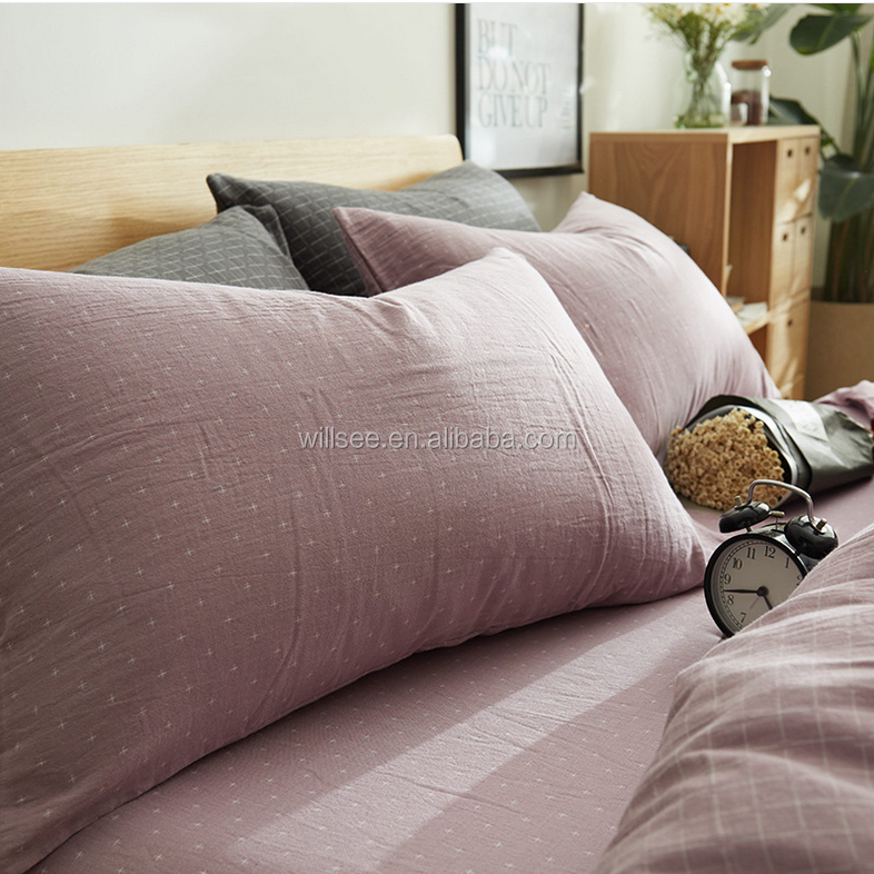 VB2015-High quality double layer air containing yarn dyed fabric bedding sheet set,40S cotton yarn