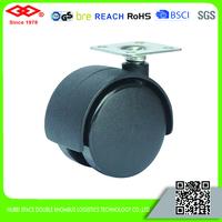 TPR dual wheel caster with nylon brake swivel double roller caster