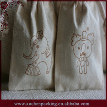 Cheap Best Selling Small Draw String Natural Linen Pouch Bag With Animal Logo