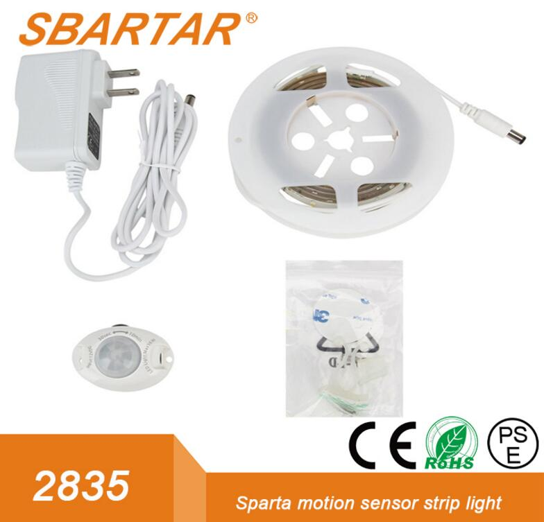SBARTAR Motion Sensor LED Strip Battery Powered 1 sensor 2 sensor for Bedroom Cabinet Closet